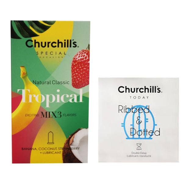 کاندوم چرچیلز مدل Mix 3 بسته 12 عددی به همراه کاندوم چرچیلز مدل شیاردار و خاردار بسته 3 عددی