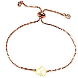 دستبند طلا 18 عیار دخترانه کرابو طرح دو قلب مدل Krd1135