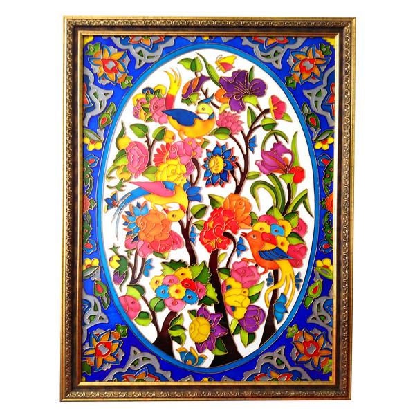 تابلو ویترای طرح گل و مرغ کد 2