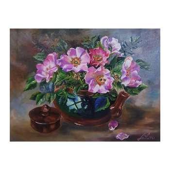 تابلو نقاشی رنگ روغن مدل گل های نسترن کد OC001