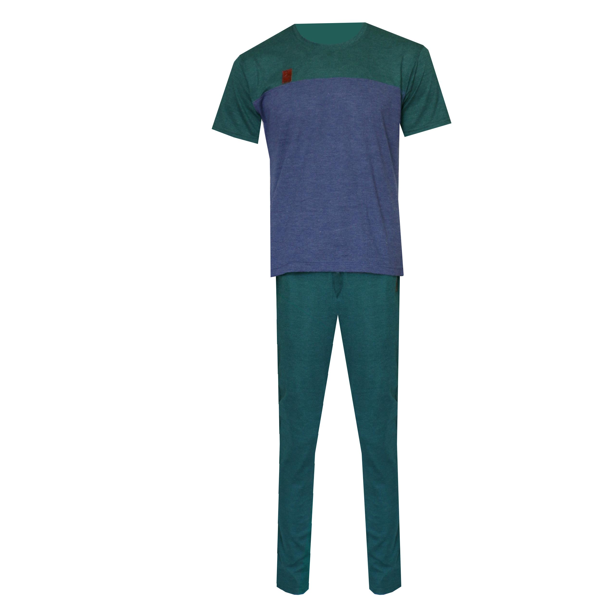 ست تی شرت و شلوار مردانه لباس خونه کد 990801 رنگ آبی کاربنی