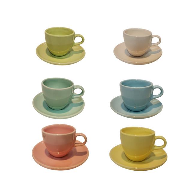 فنجان و نعلبکی سرامیکی مدل شش رنگ