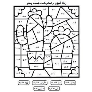کاغذ رنگ آمیزی طرح تمرین جمع و تفریق ریاضی مدل نسخه 4