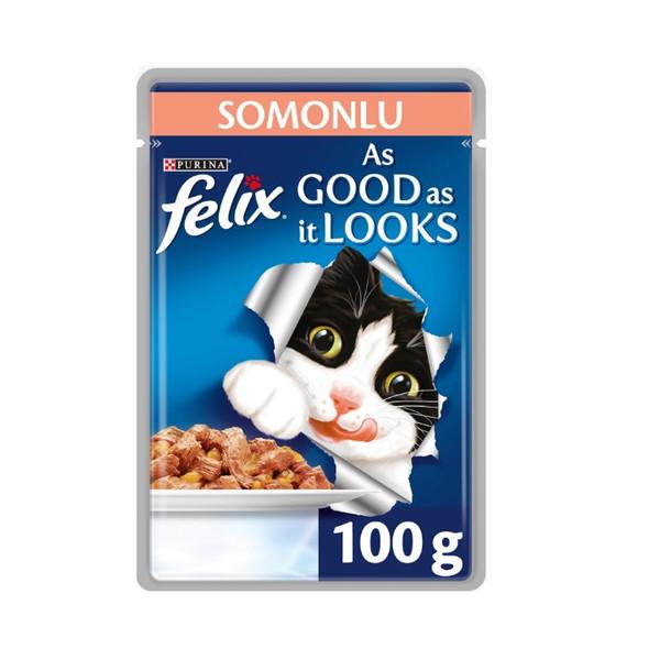 غذای مرطوب گربه بالغ فلیکس مدل Adult-Salmon وزن 100 گرم