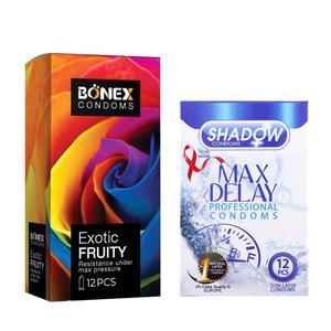 کاندوم بونکس مدل Exotic Fruity بسته 12 عددی به همراه کاندوم شادو مدل Max Delay بسته 12 عددی