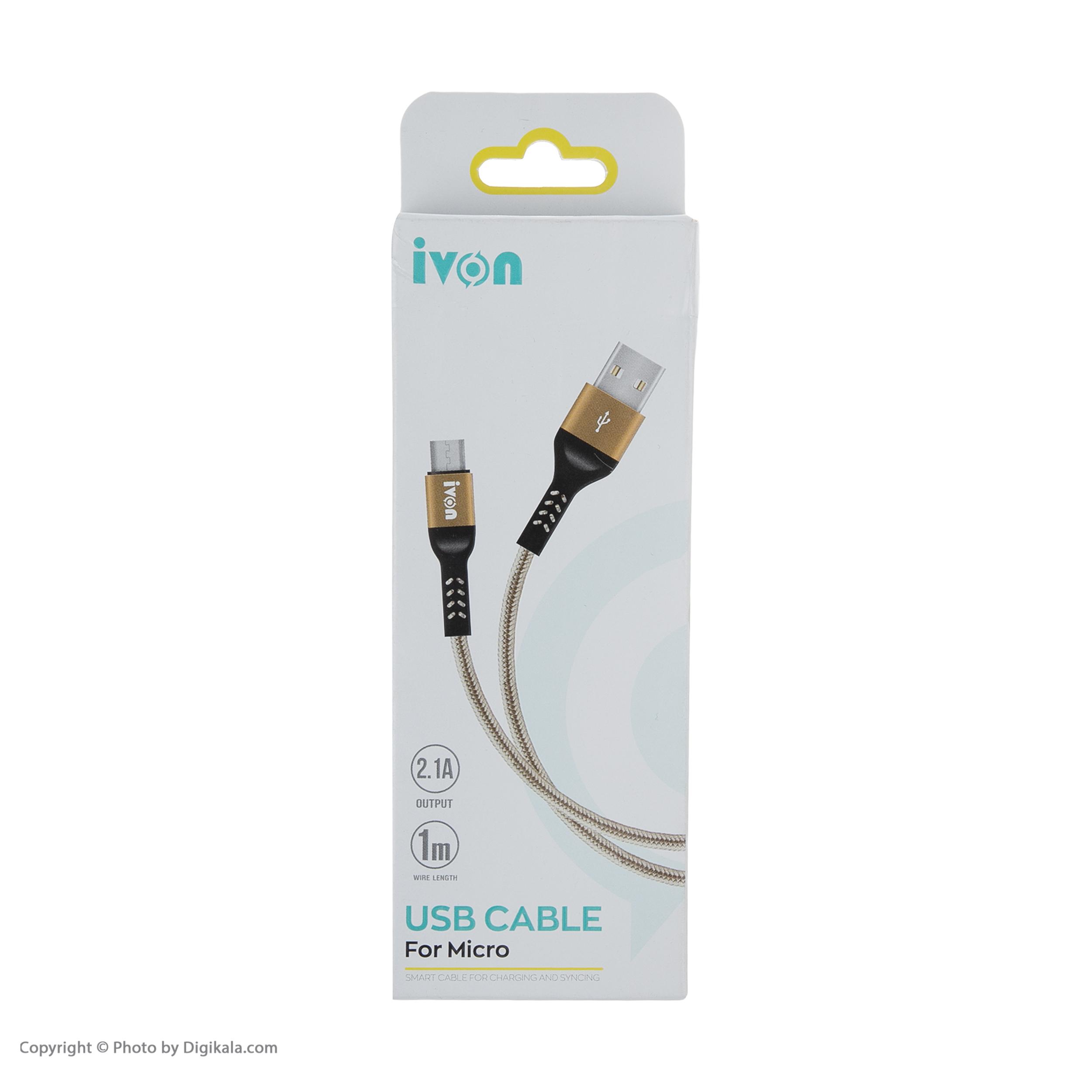 کابل تبدیل USB به microUSB  آی ون مدل CA89 طول 1 متر