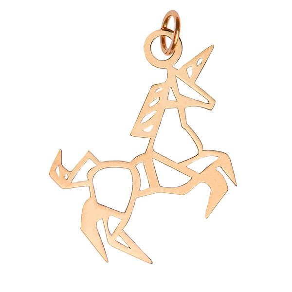 آویز گردنبند طلا 18 عیار زنانه کرابو طرح تک شاخ مدل Kr3044