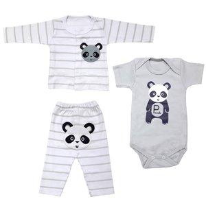 ست 3 تکه لباس نوزادی پسرانه طرح پاندا کد 3260