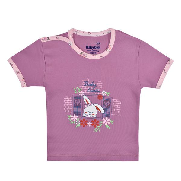 تی شرت آستین کوتاه نوزادی بی بی وان مدل خرگوش کد ۱
