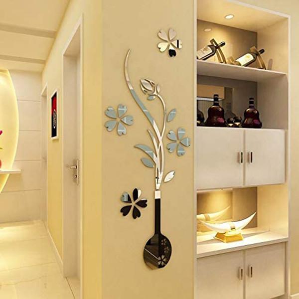 آینه پلکسی گلس مدل گل و گلدان کد 4414