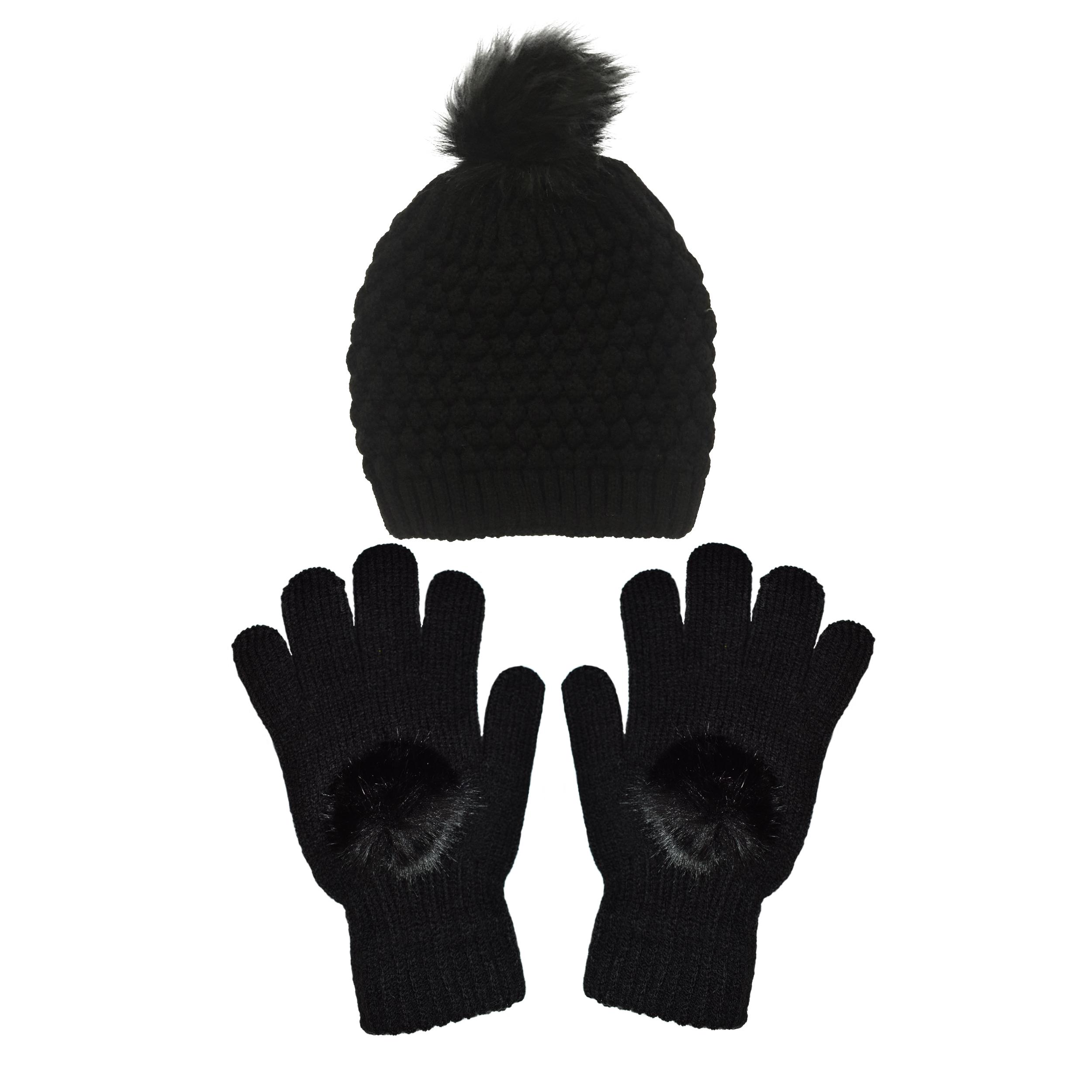 ست کلاه و دستکش بافتنی زنانه تولیدی منوچهری کد kd576