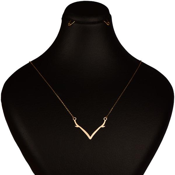 گردنبند طلا 18 عیار زنانه کرابو طرح شاخ گوزن مدل Kr7075
