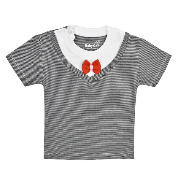 تی شرت آستین کوتاه نوزادی بی بی وان مدل پاپیون کد 1