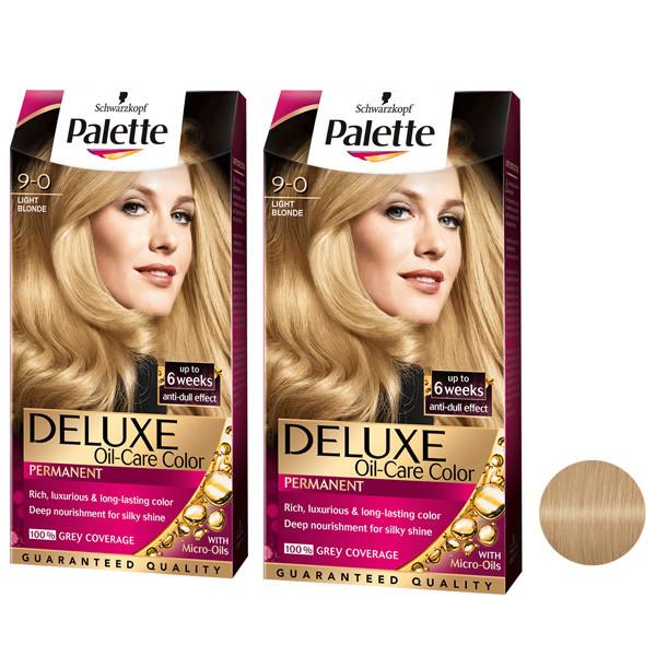 کیت رنگ مو پلت سری DELUXE شماره 0-9 حجم 50 میلی لیتر رنگ بلوند روشن مجموعه 2 عددی