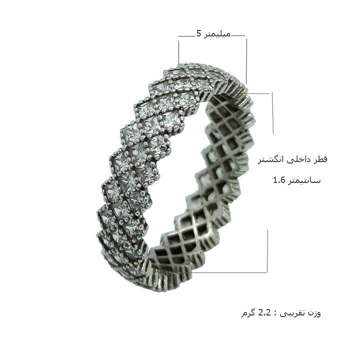 انگشتر نقره زنانه کد TSVR0016 -  - 3