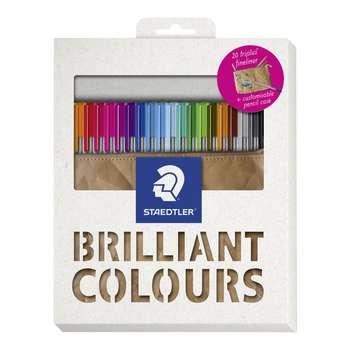 روان نویس استدلر کد 334PCC20 مدل Triplus Fineliner Brilliant Colours بسته 20 عددی به همراه کیف