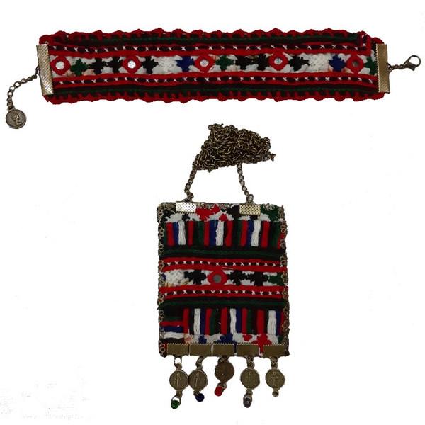 ست دستبند و گردنبند سوزن دوزی کد E22