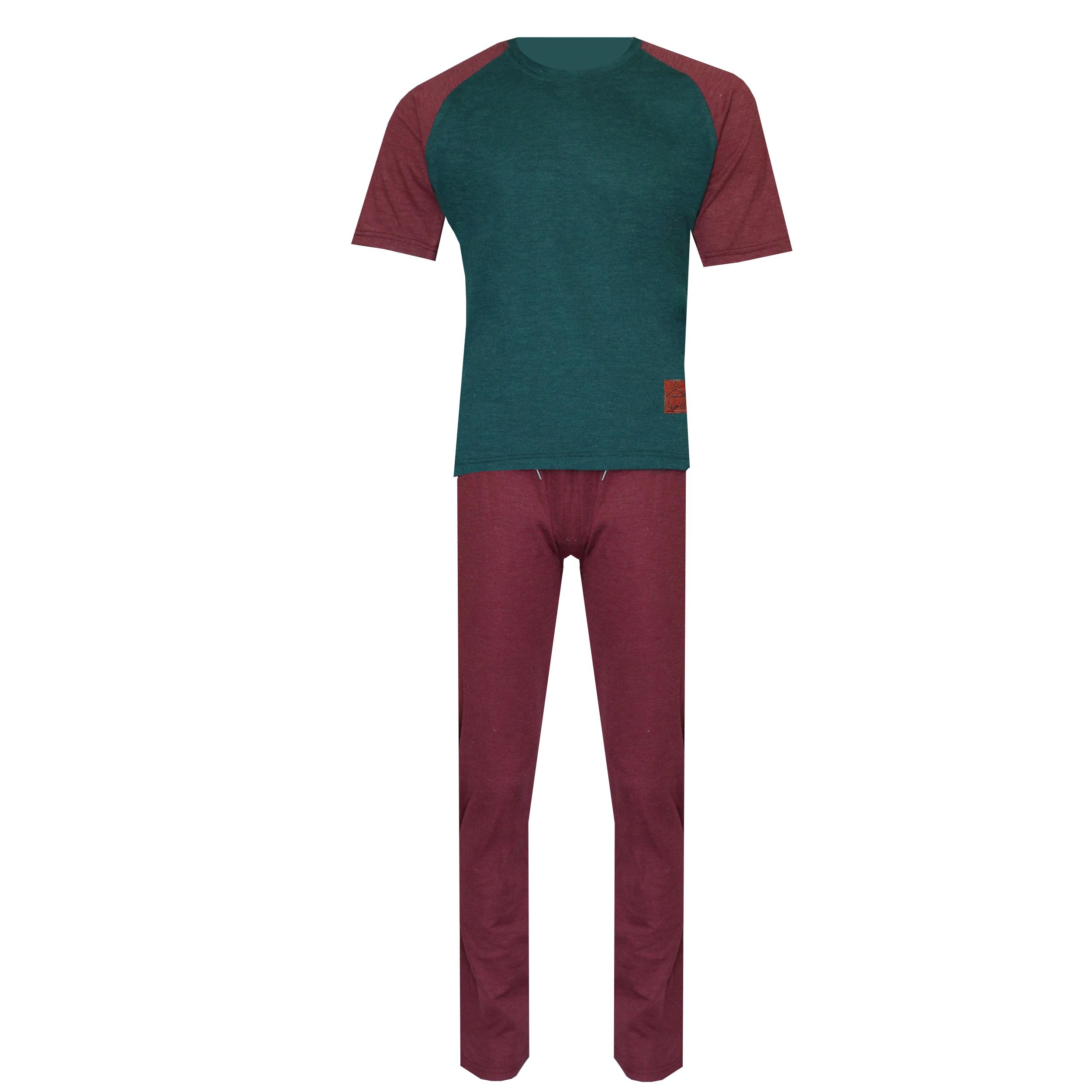ست تی شرت و شلوار مردانه لباس خونه کد 990803 رنگ زرشکی