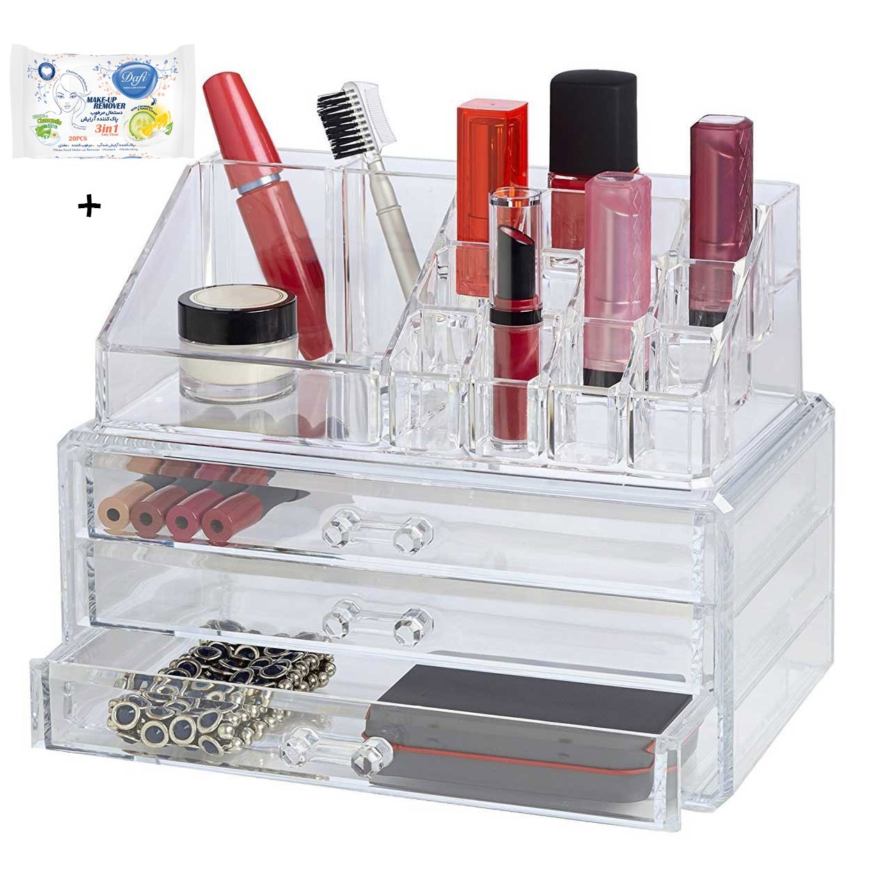 استند لوازم آرایش مدل Cosmetic همراه با 20 عدد دستمال مرطوب پاک کننده آرایش
