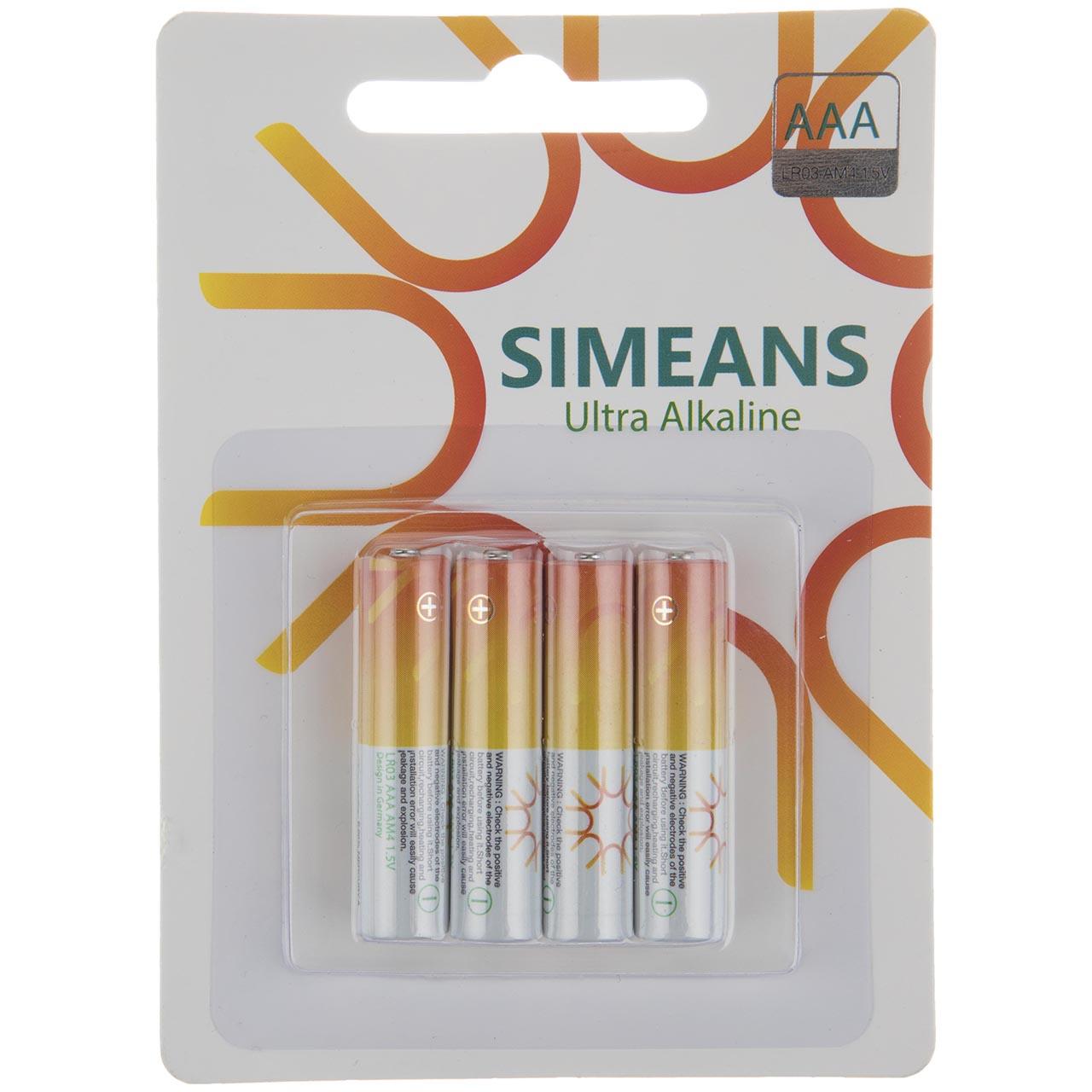 باتری نیم قلمی سایمینس مدل Ultra Alkline بسته 4 عددی