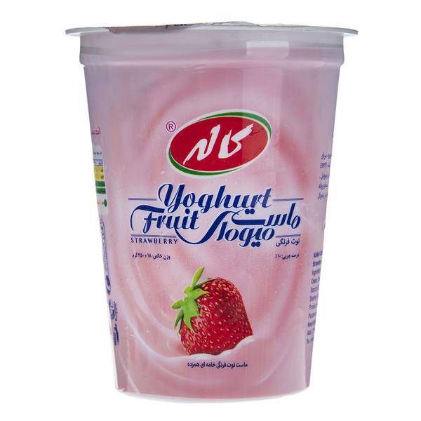 ماست میوه ای با طعم توت فرنگی کاله مقدار 450 گرم