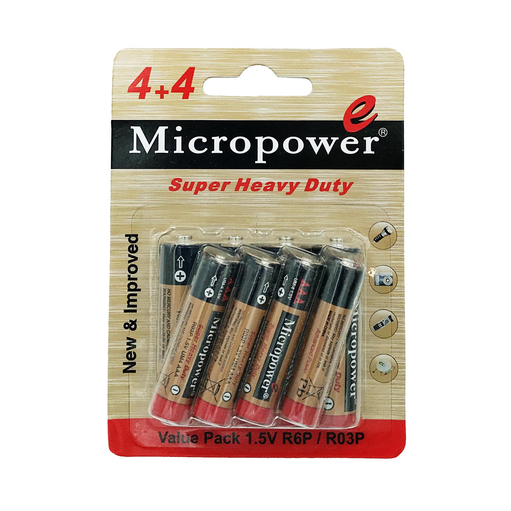 بررسی و {خرید با تخفیف}                                     باتری قلمی و نیم قلمی میکروپاور مدل 4R64R03 مجموعه 8 عددی                             اصل