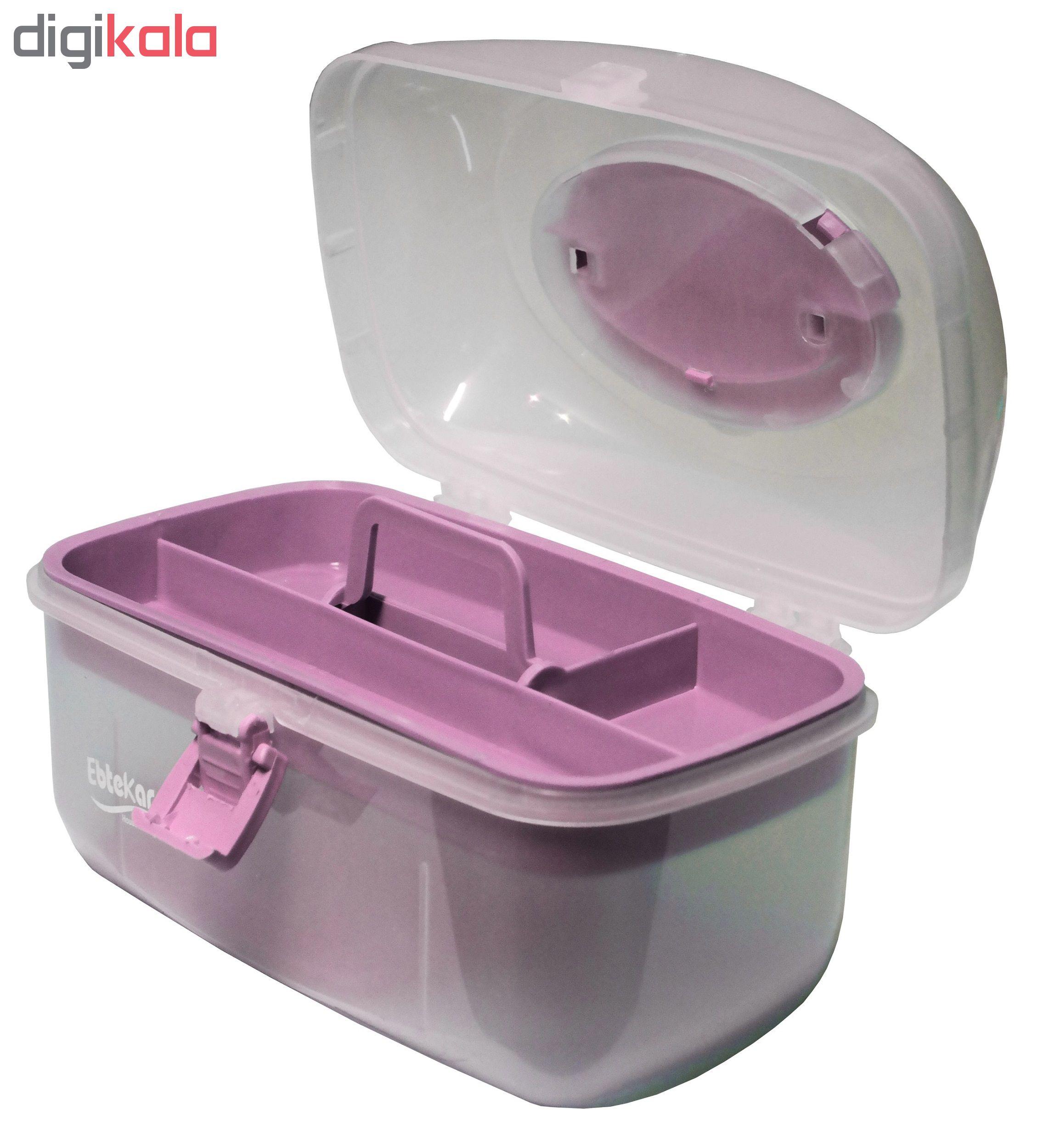 جعبه لوازم خیاطی ابتکار مدل Pink به همراه متر خیاطی main 1 2