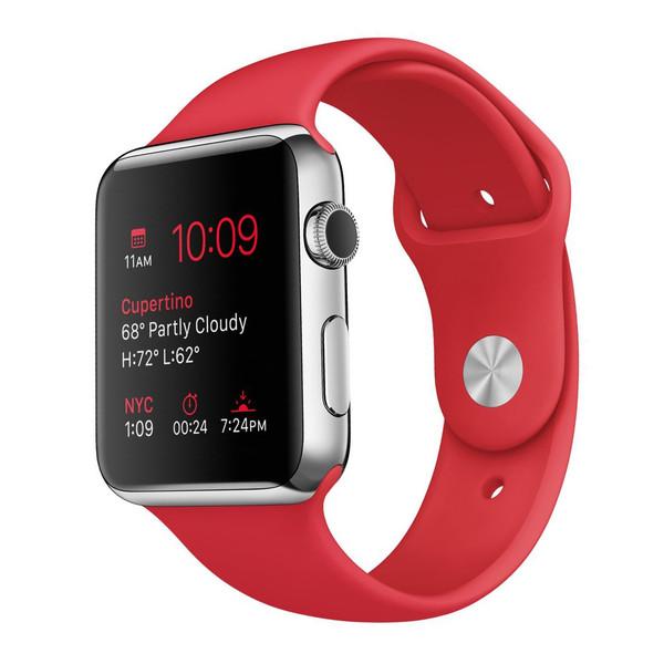 ساعت مچی هوشمند اپل واچ مدل 42mm Stainless Steel Case with (PRODUCT)RED Sport Band