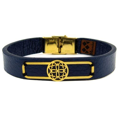 دستبند چرم و طلا 18عیار مانچو مدل Bfg019