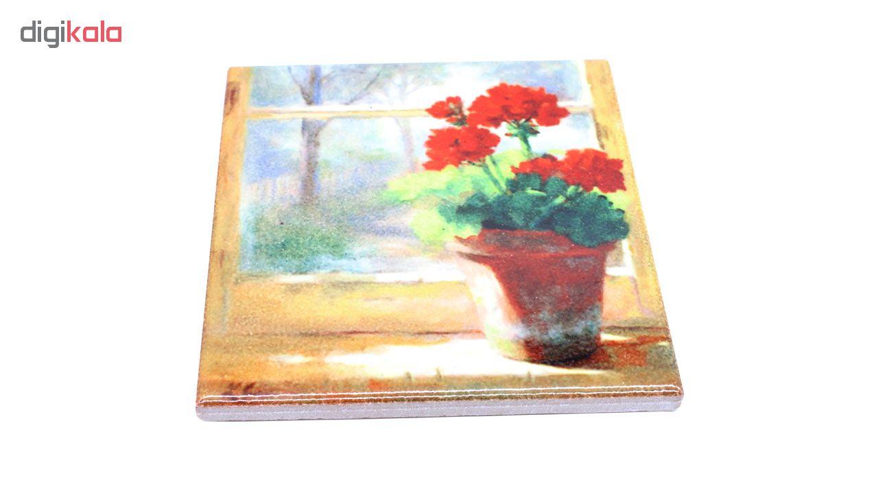 خرید                      کاشی خشتی طرح گلدان شمعدانی و پنجره کد EK02
