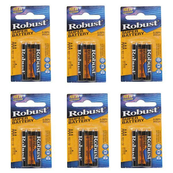 باتری نیم قلمی روباست مدل SUPER BATTERY بسته 12 عددی