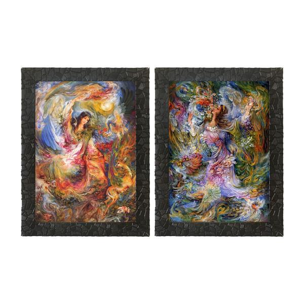 تابلو چاپ سی طرح مجموعه نقاشی های استاد فرشچیان کد LS008  مجموعه 2 عددی