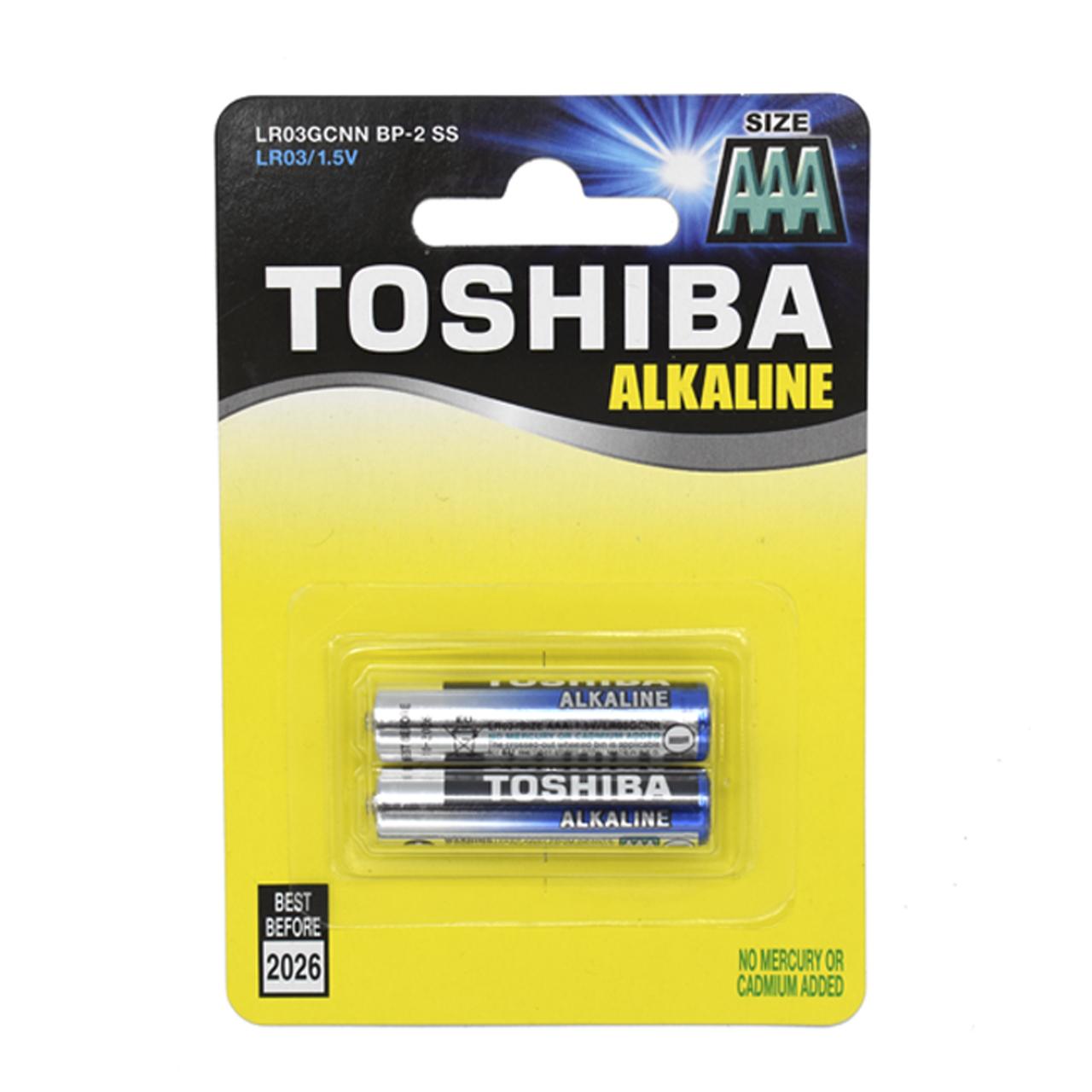 باتری نیم قلمی توشیبا مدل آلکالاین بسته 2 عددی
