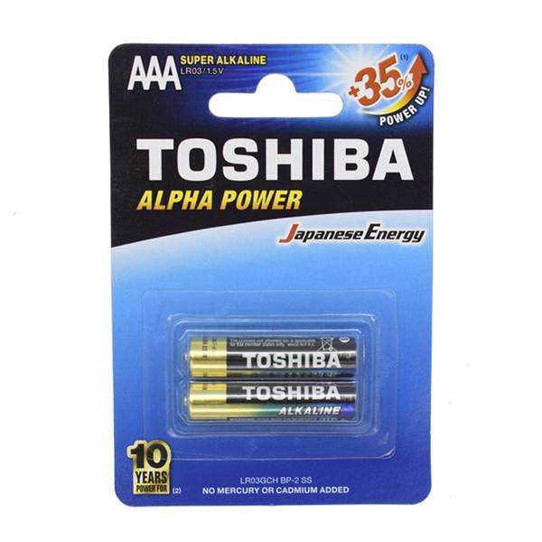 باطری نیم قلمی سوپر آلکالاین توشیبا مدل Alpha Power بسته 2 عددی