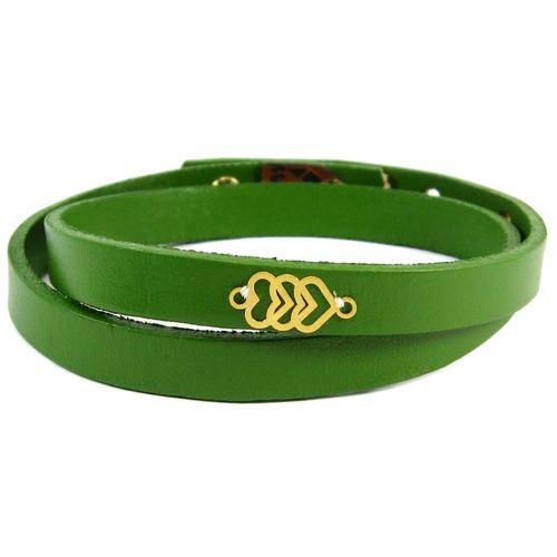 دستبند چرم و طلا 18عیار مانچو مدل Bfg022