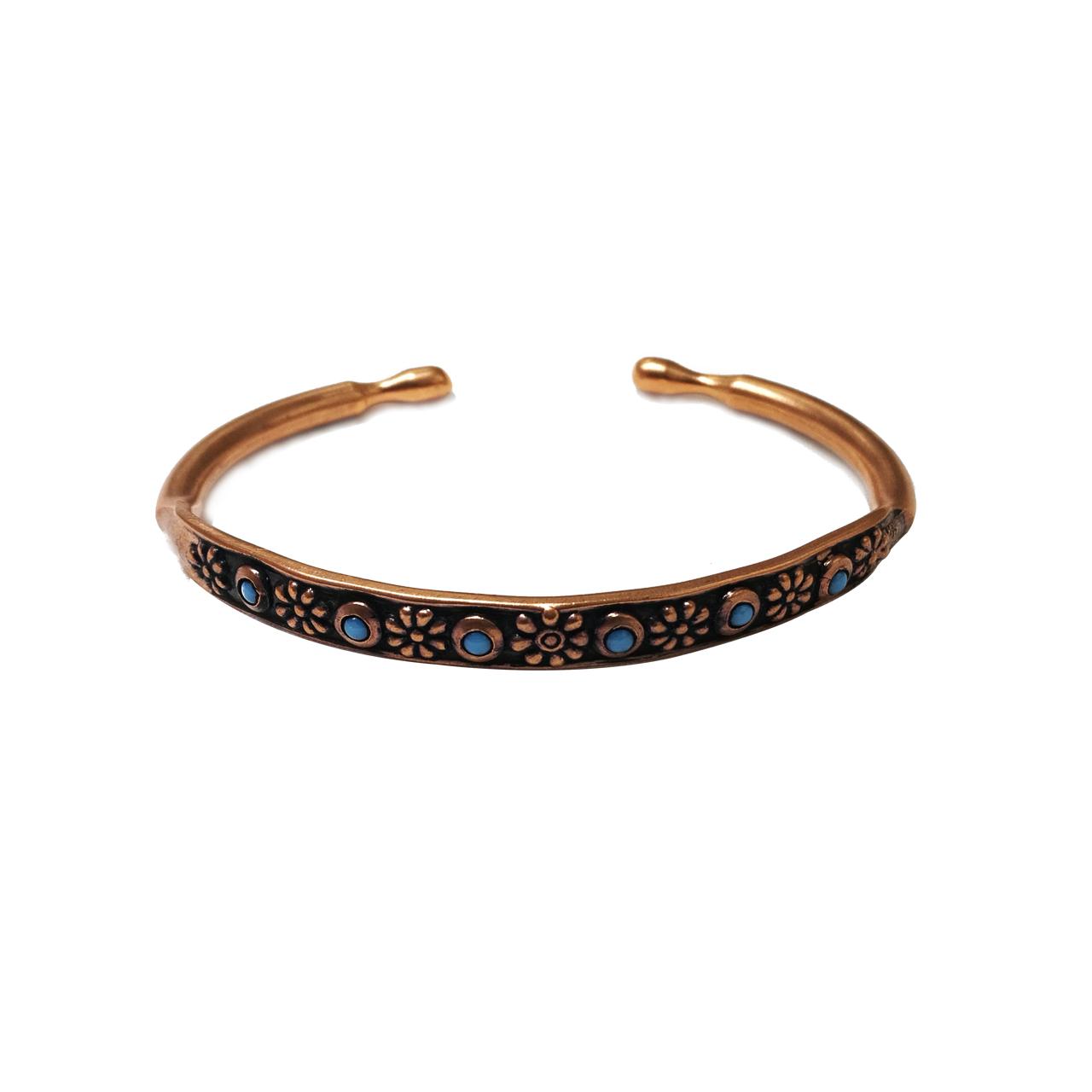 قیمت دستبند مسی طرح گل فیروزه ای