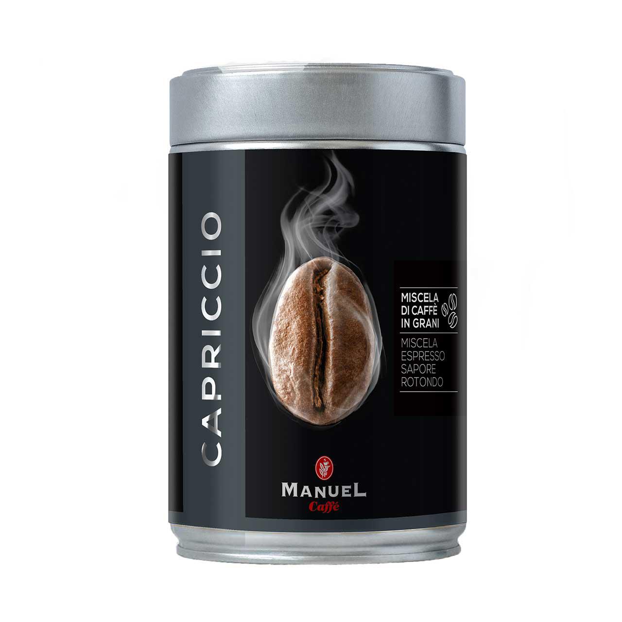 دانه قهوه مانوئل مدل Capriccio قوطی 250 گرمی