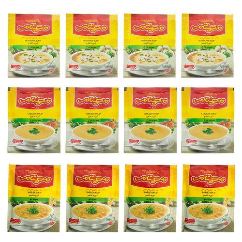 سوپ قارچ/مرغ/جو مهنام بسته 12 عددی
