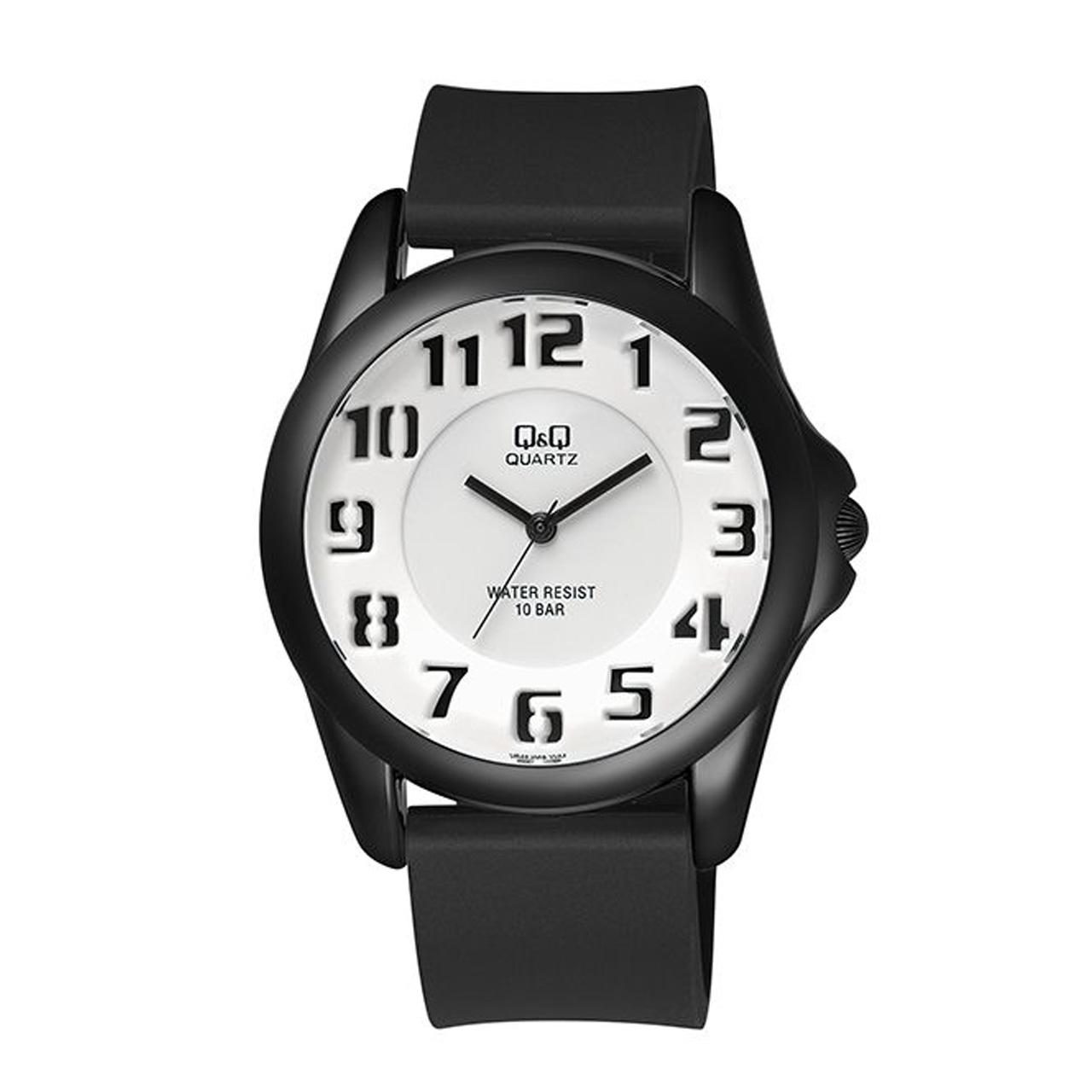ساعت مچی عقربه ای مردانه کیو اند کیو مدل vr42j011y به همراه دستمال مخصوص برند کلین واچ