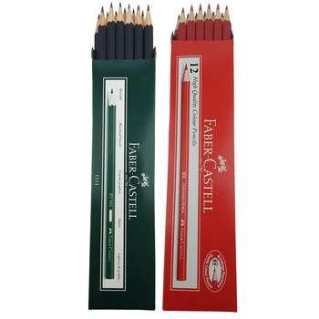 مداد مشکی و قرمز فابر کاستل مدل 111100 بسته 24 عددی