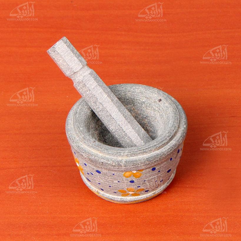 هاون سنگی نقاشی  رنگ خاکستری طرح گل مدل 1003000005