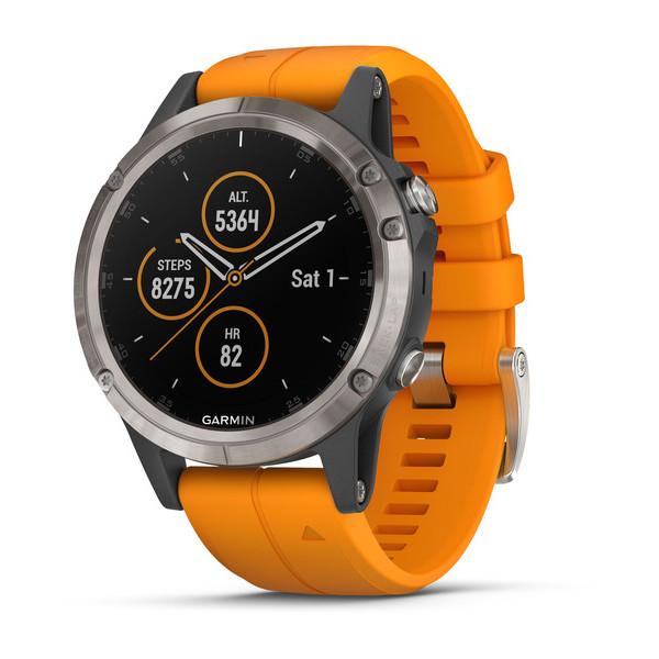 ساعت مچی هوشمند گارمین مدل fenix 5 plus with solar orange band