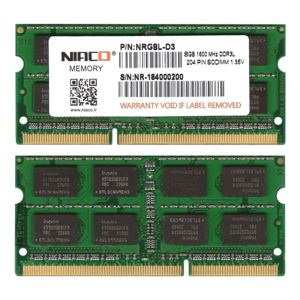 رم لپ تاپ1.35V  نیاکو مدلNRG8L-D3  فرکانس 1600 مگاهرتز  ظرفیت 8 گیگابایت