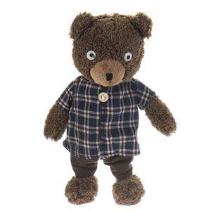 عروسک خرس قهوهای مدل لباس چهارخانه سایز متوسط