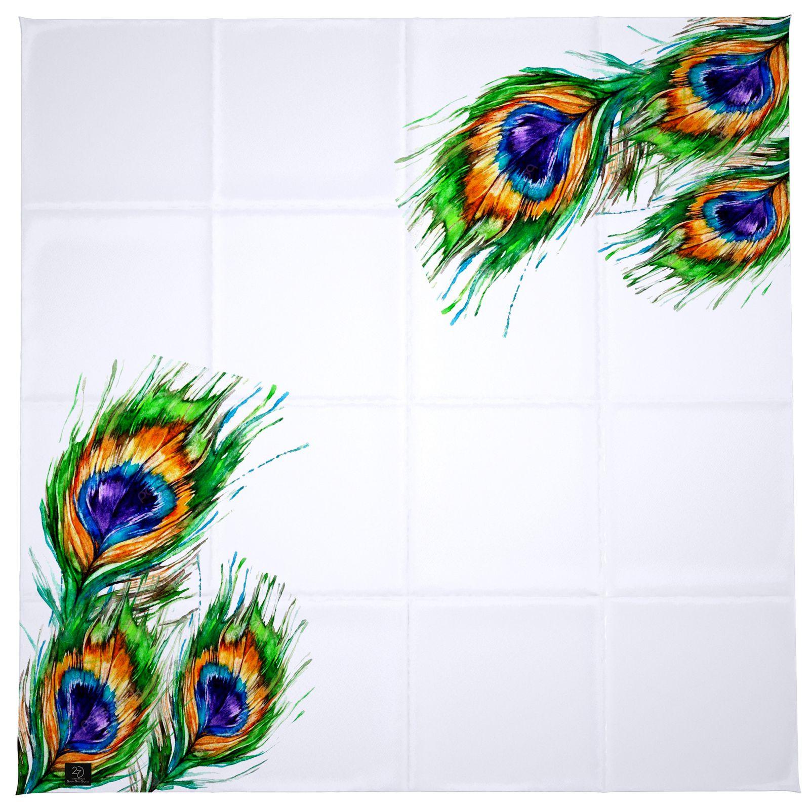 روسری زنانه 27 طرح پر طاووس کد H01 -  - 8
