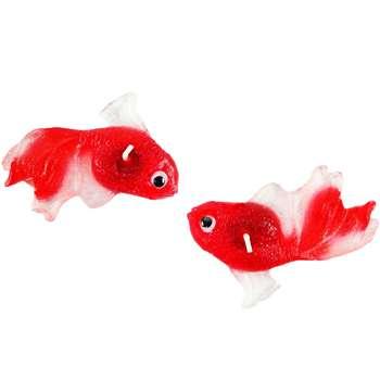 شمع مدل ماهی قرمز کد F1 بسته 2 عددی همراه 2 عدد مگنت چوبی طرح Baby