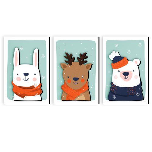 تابلو برجسته کودک دکوماس طرح زمستان حیوانات 1 کد DMS-BT126