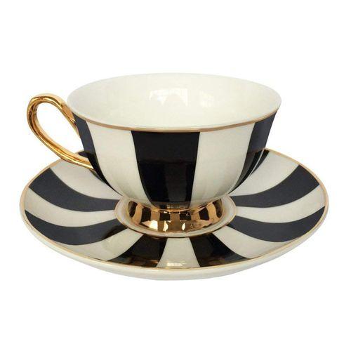 فنجان و نعلبکی بامبی داک مدل Stripy Black And White