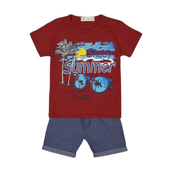 ست تی شرت و شلوارک پسرانه بی کی مدل 2211250-70