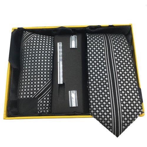 ست کراوات، گیره، دستمال و دکمه سردست هکس ایران مدل AF-FUL SET-BLKW